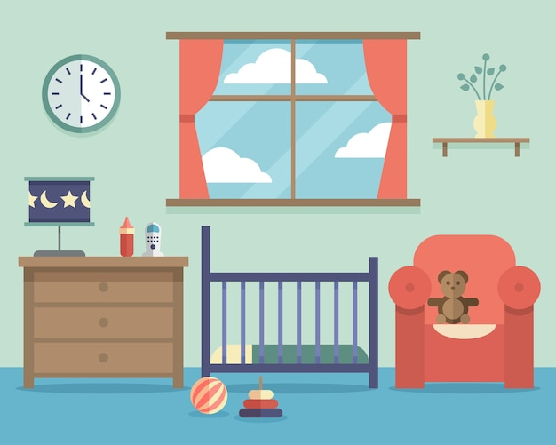 평면 스타일의 가구와 보육 아기 방 인테리어. 하우스 실내 디자인 침실 무료 벡터
