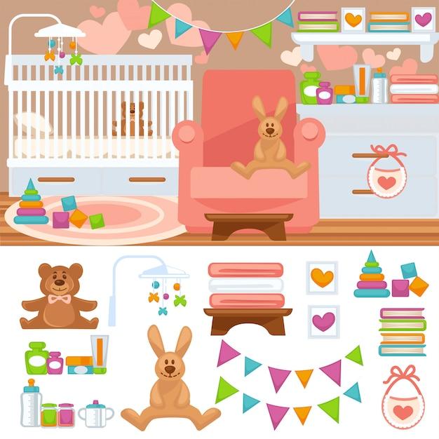 Nursery and childhood bedroom interior. Premium Vector