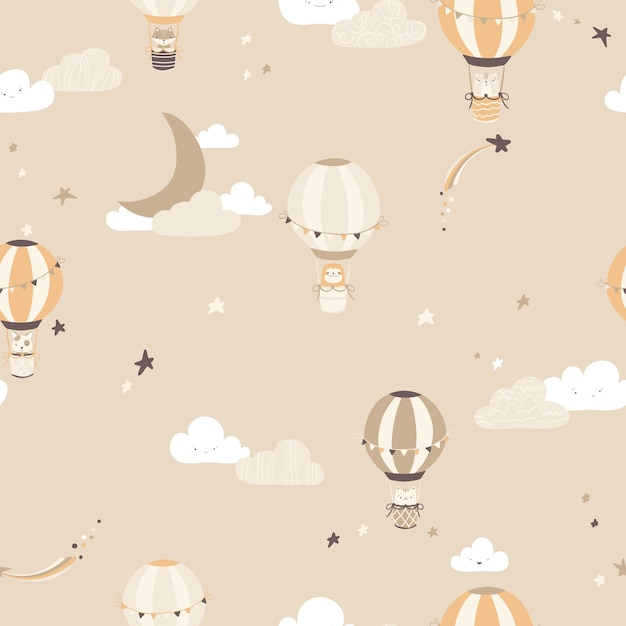 Nursery vector seamless pattern with vintage balloons with animals on the night sky. Premium Vector