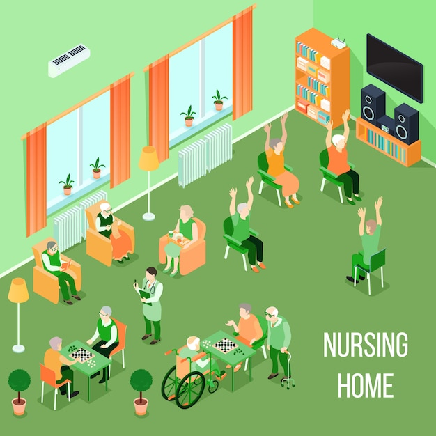 Nursing home care interior isometric Free Vector