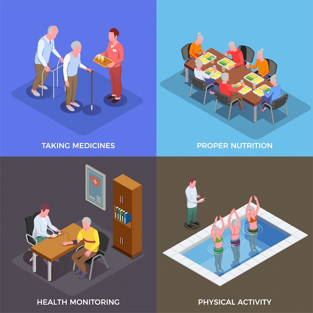 Nursing home concept set of taking medicines proper nutrition health monitoring physical activity square compositions isometric Free Vector