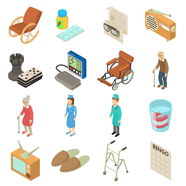 Nursing home icons set. isometric illustration of 16 nursing home vector icons for web Premium Vector
