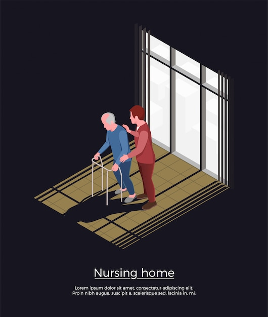 Nursing home isometric concept with female person looking after elderly man moving with walker Free Vector