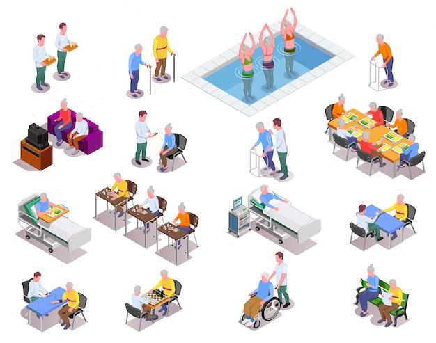 Le icone isometriche della casa di cura hanno messo con i pazienti e gli anziani di monitoraggio del personale che giocano gli esercizi di sport o i giochi da tavolo isolati Vettore gratuito