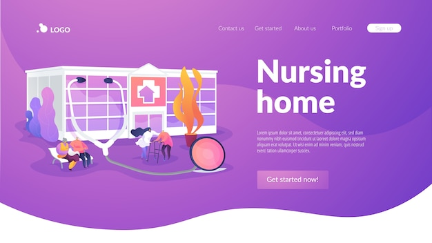 Nursing home landing page template Free Vector