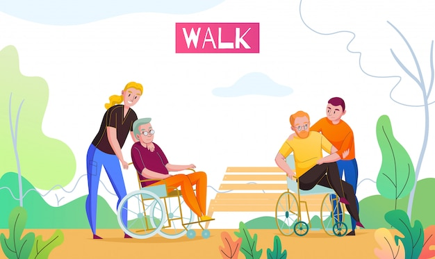Nursing home outdoor activities with medical attendant and volunteer walking with wheelchair bounded residents flat vector illustration Free Vector
