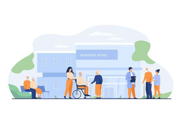 Nursing home residents. old people walking outside with caregivers and visitors Free Vector