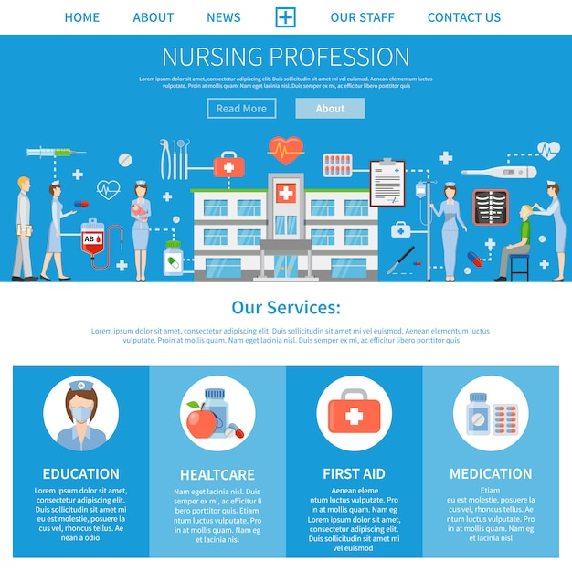 Nursing profession advertising layout Free Vector