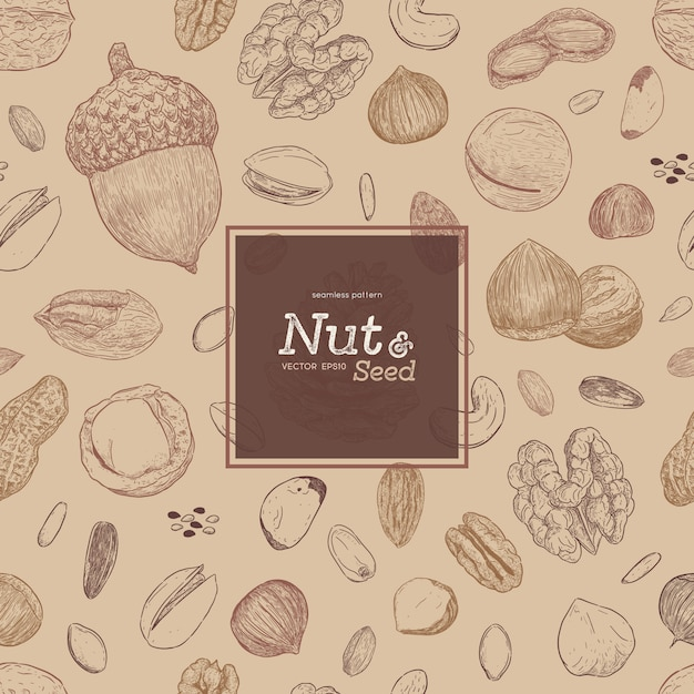 Nut and seed seamless pattern Premium Vector