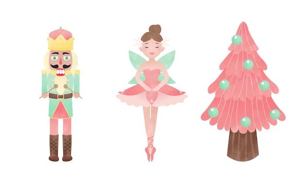 Nutcracker ballerina and pink christmas tree Premium Vector