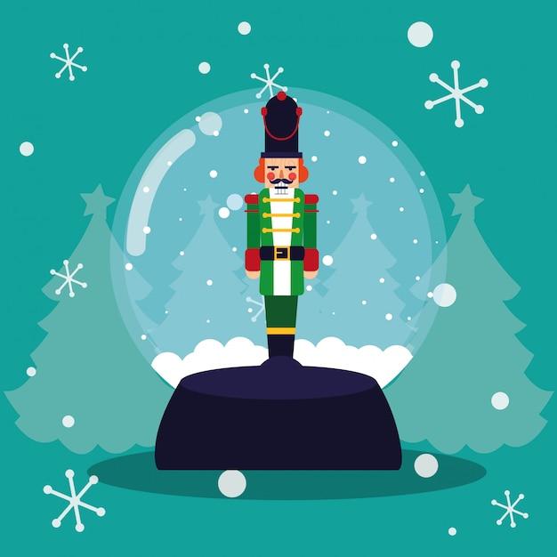 Nutcracker Christmas Tree Clipart.Nutcracker Soldier In Crystal Ball Vector Premium Download