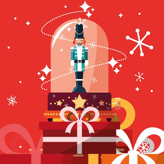 Nutcracker soldier in crystal sphere with gift boxes presents Premium Vector