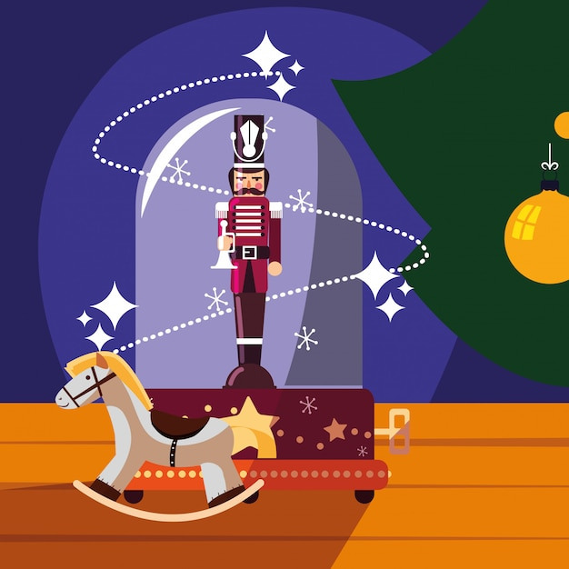 Nutcracker soldier in crystal sphere with wooden horse Premium Vector