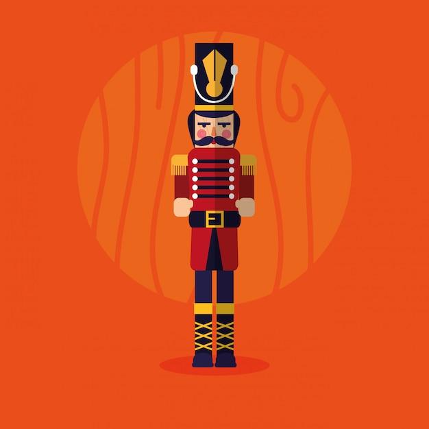 Nutcracker soldier toy icon Premium Vector