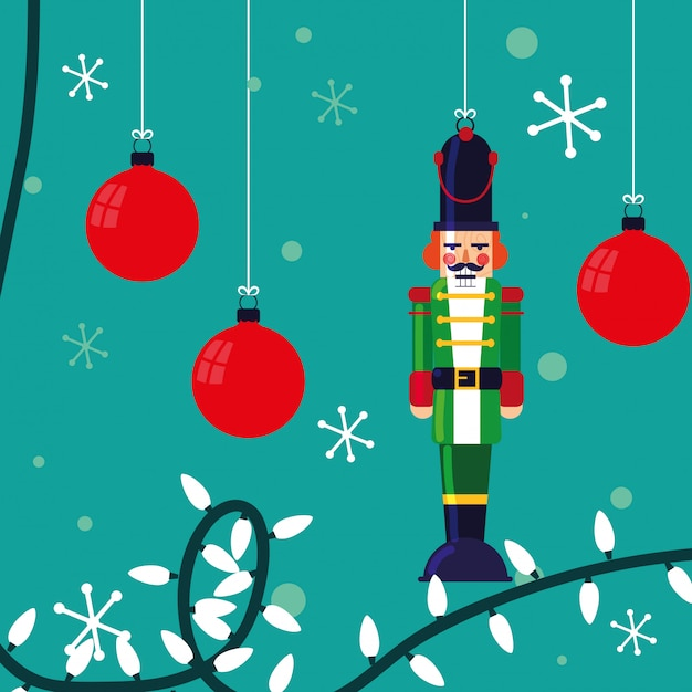Nutcracker soldier toy with balls of christmas Premium Vector