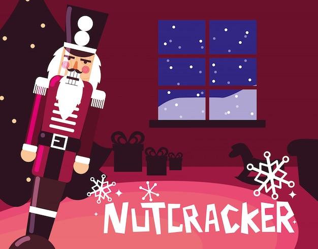 Nutcracker soldier with tree christmas Premium Vector
