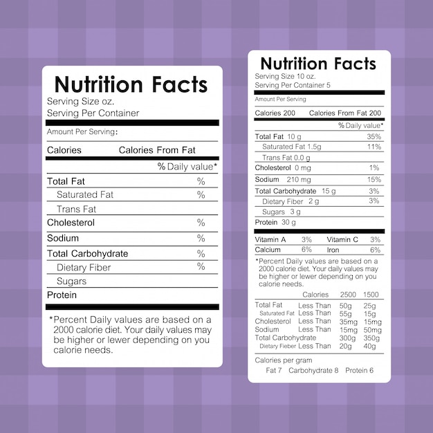 Nutrition facts food labels information Free Vector