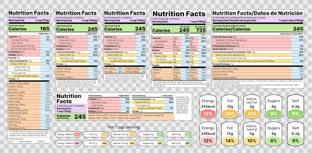 Nutrition facts label. illustration. set of tables food information. Premium Vector