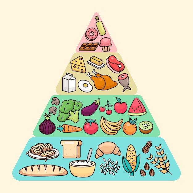 Nutrition food pyramid Premium Vector