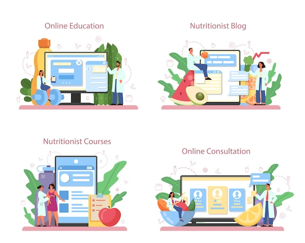 Nutritionist online service or platform set. diet plan with healthy food and physical activity. online education, nutritionist blog, online consultation, courses. Premium Vector