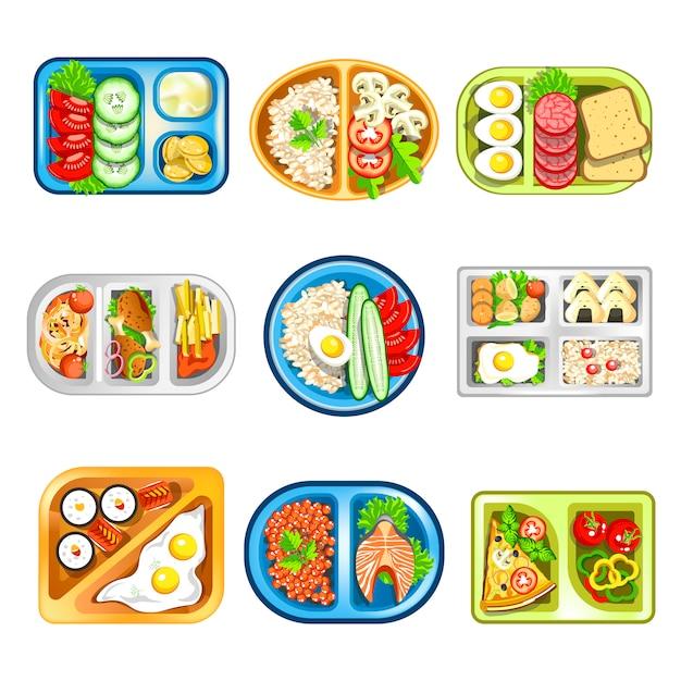 Питательные комплексные обеды в удобных пластиковых подносах Premium векторы