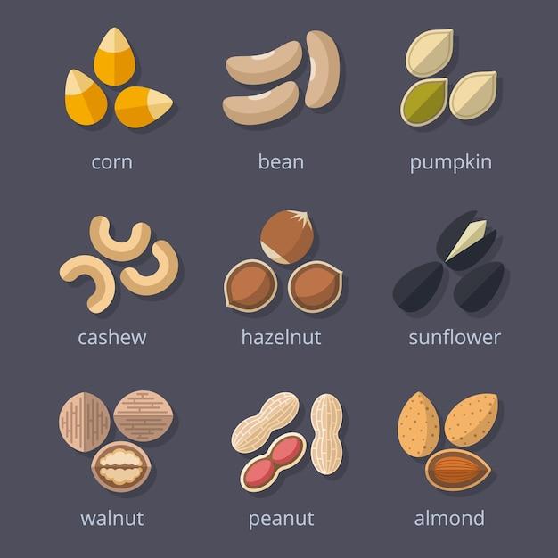 ナッツと種子のアイコンセット。アーモンドとクルミ、ピーナッツとカボチャ、トウモロコシと豆。 無料ベクター
