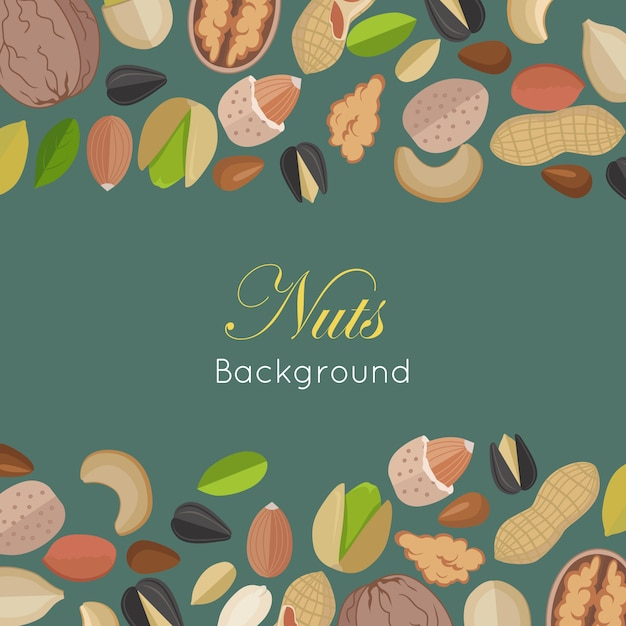 Nuts background concept      . Premium Vector