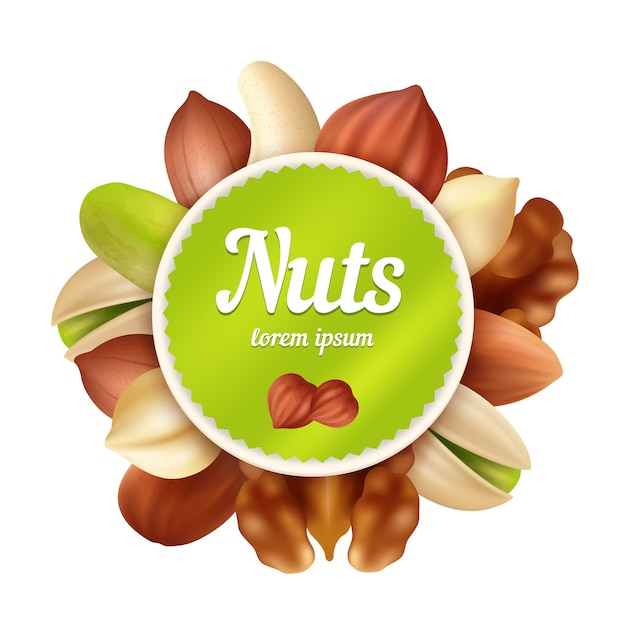 Nuts background. healthy food snacks and peanuts collection with place for your text vector  template Premium Vector