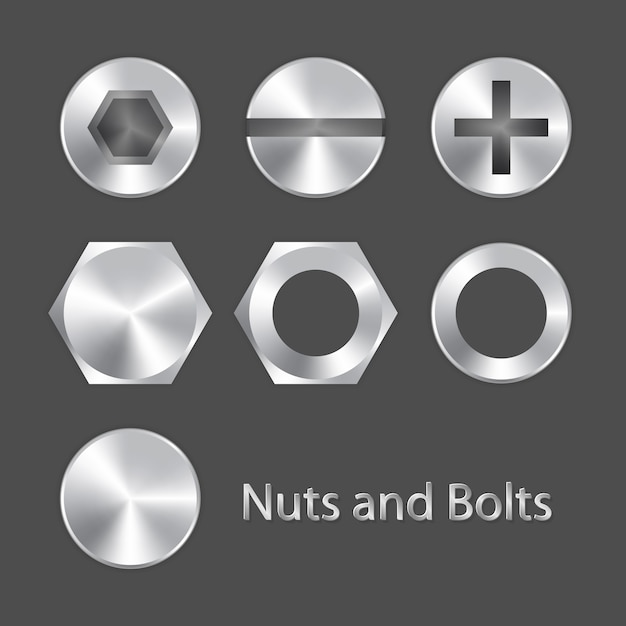 Nuts and bolts Premium Vector