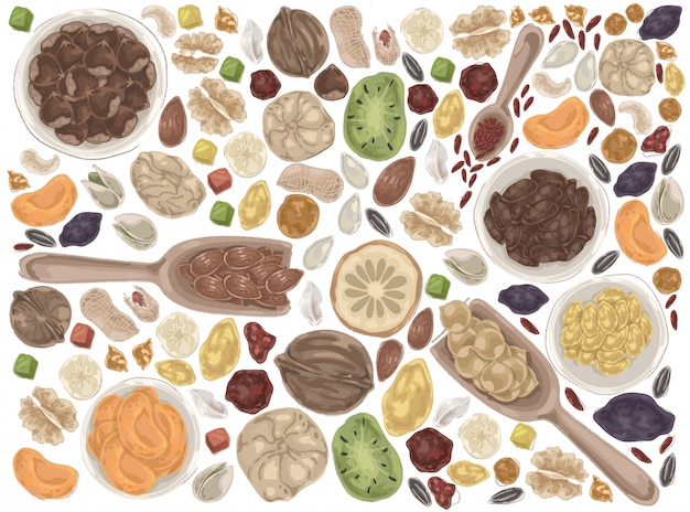 Nuts and dried fruits doodle set. Premium Vector