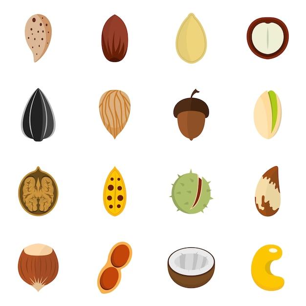 Nuts icons set Premium Vector
