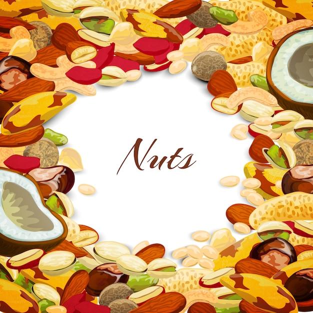 Nuts mix background Premium Vector