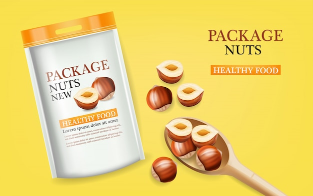 Nuts package realistic mock up illustration Premium Vector