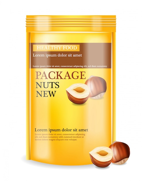 Nuts package realistic mock up Premium Vector