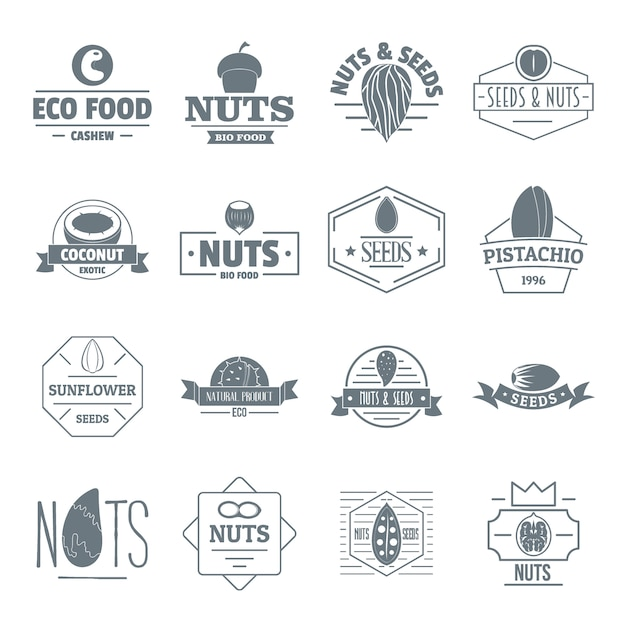 Nuts seeds logo icons set Premium Vector