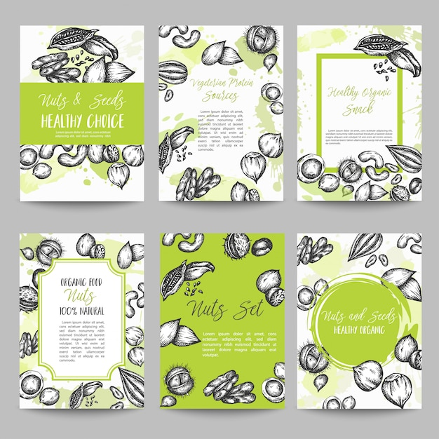 Nuts and seeds set of cards collection hand drawn vector illustration with nuts and seeds elements, vintage retro style Premium Vector