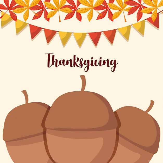 Nuts for thanksgiving day with leafs and garlands Premium Vector