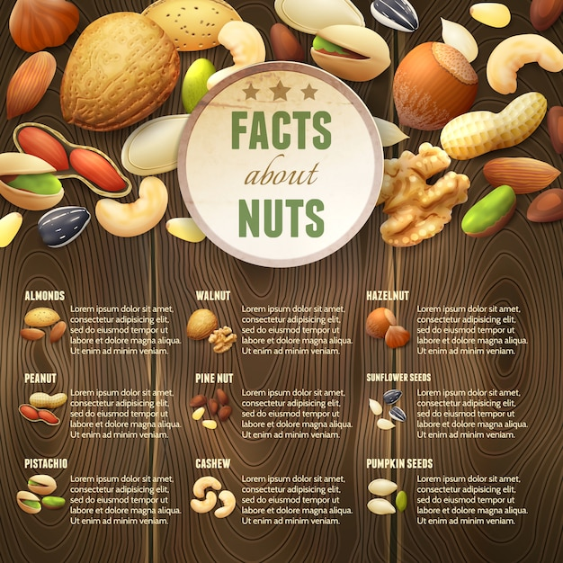Nuts on wooden background Free Vector
