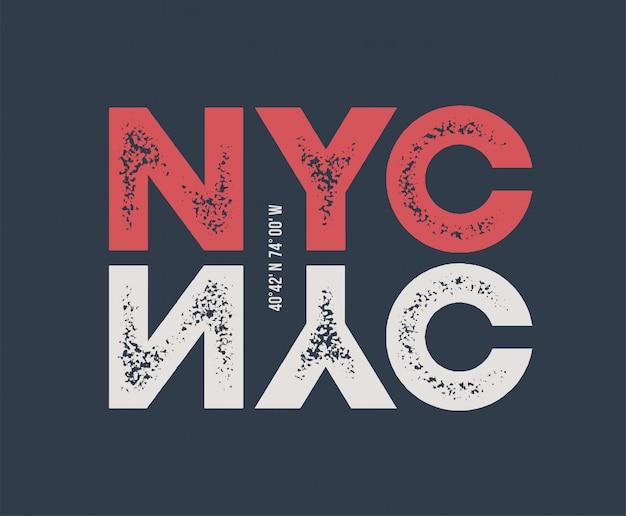 Nycのtシャツと質感のレタリングとアパレル。 Premiumベクター