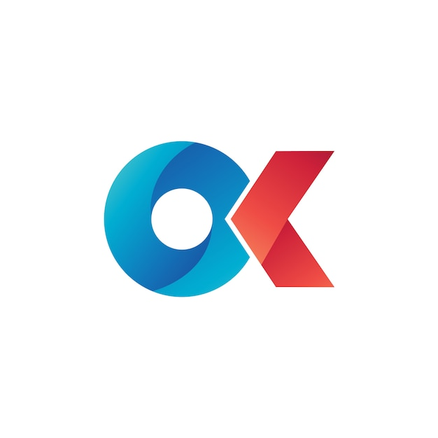 Oおよびkロゴベクトル Premiumベクター