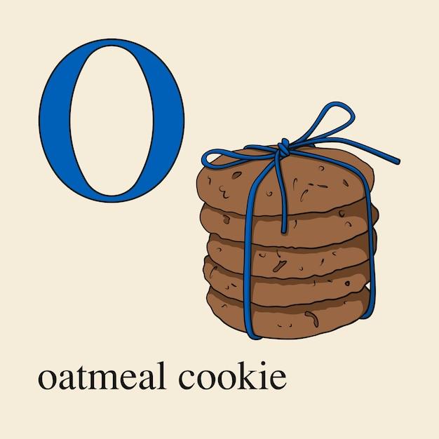 オートミールクッキーとoの文字。お菓子と英語のアルファベット。 Premiumベクター