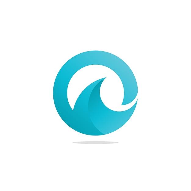 Oの手紙海の波のロゴ Premiumベクター
