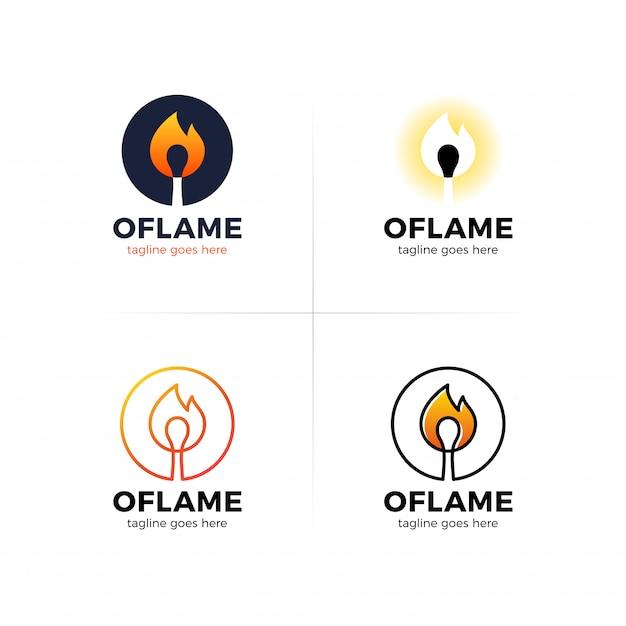 Буква o логотип с огнем спичка в центре. Premium векторы