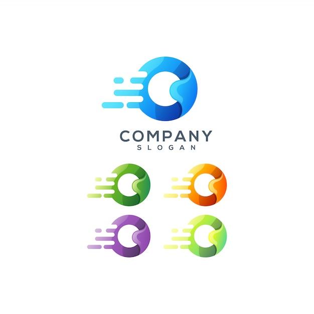 文字oのロゴデザイン Premiumベクター