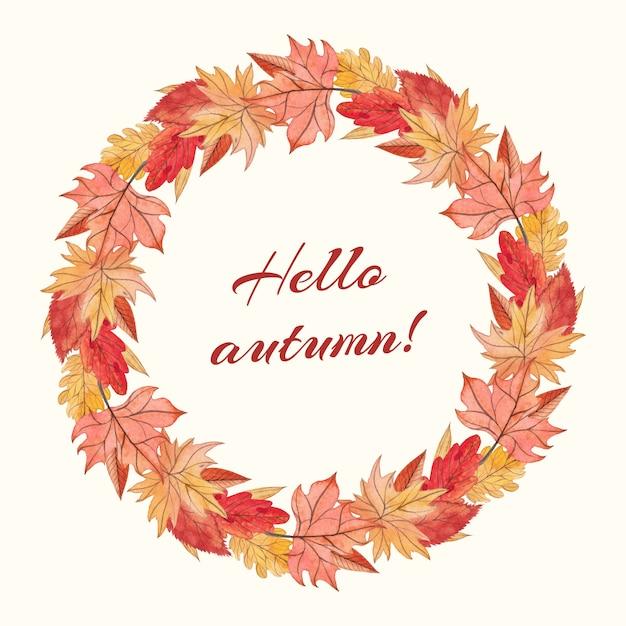 Oak and maple autumn wreath Premium Vector
