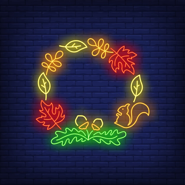 Oak, maple leaves, acorns and squirrel frame neon sign Free Vector