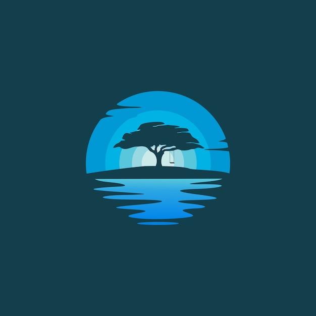 Oaktree силуэт в ночной пейзаж дизайн логотипа иллюстрации Premium векторы