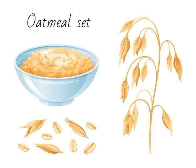 Набор овсяной муки. чаша, хлопья овсяные уха. чашка для завтрака с овсяной кашей, мюсли, семя. мультяшный стиль. Premium векторы