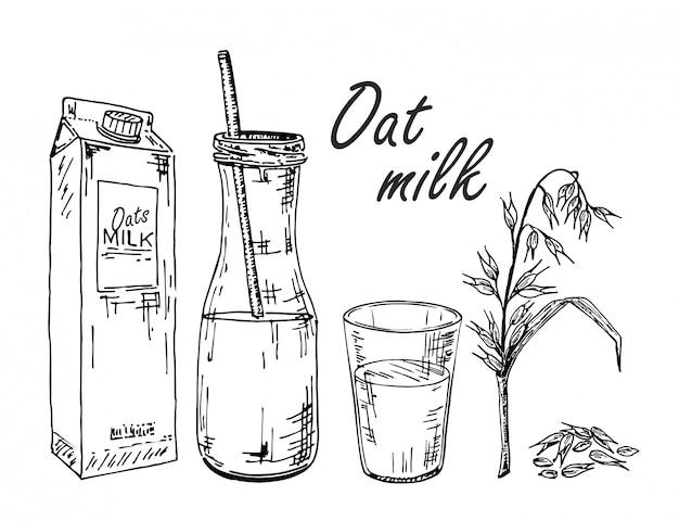 Овсяное молочко. эскиз растительного молока. овсяное молоко в пакетике, в бутылке, в стакане. Premium векторы