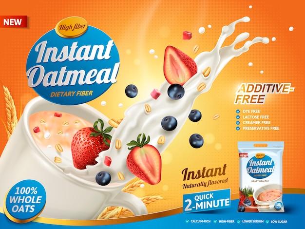 Реклама овсяных хлопьев, с брызгами молока и смешанными ягодами Premium векторы